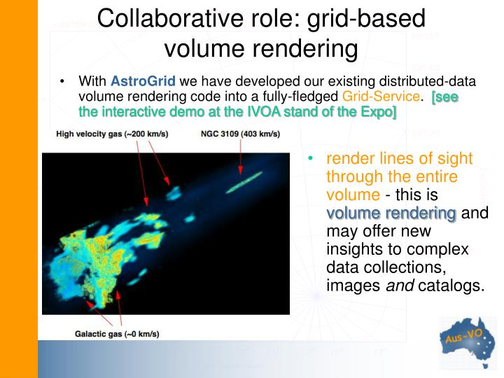 Collaborative role: grid-based volume rendering