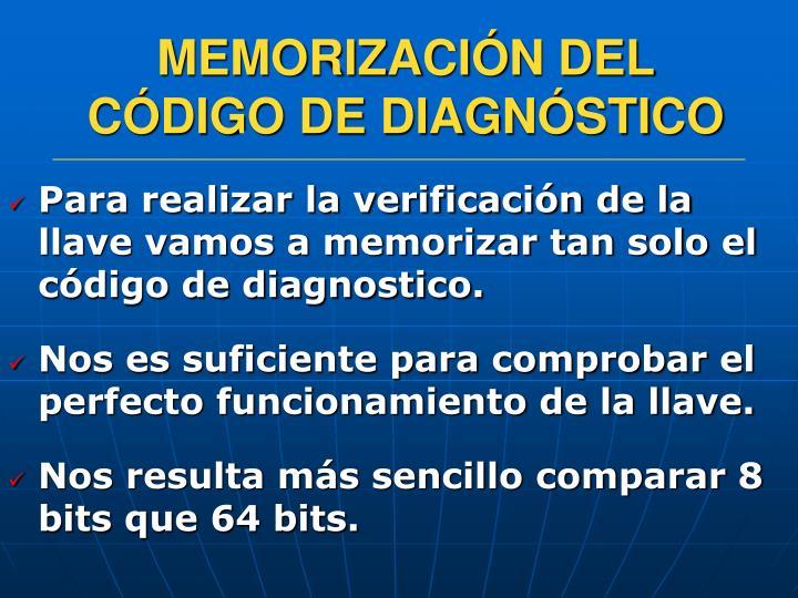 MEMORIZACIÓN DEL CÓDIGO DE DIAGNÓSTICO