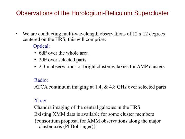 Observations of the Horologium-Reticulum Supercluster