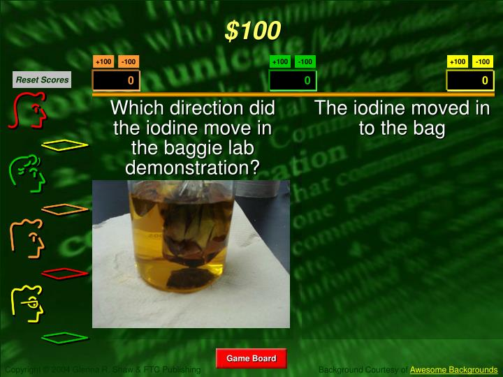 Which direction did the iodine move in the baggie lab demonstration?