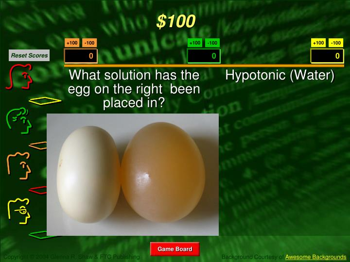 What solution has the egg on the right  been placed in?