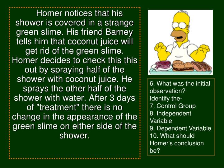 """Homer notices that his shower is covered in a strange green slime. His friend Barney tells him that coconut juice will get rid of the green slime. Homer decides to check this this out by spraying half of the shower with coconut juice. He sprays the other half of the shower with water. After 3 days of """"treatment"""" there is no change in the appearance of the green slime on either side of the shower."""