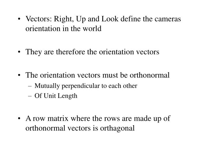 Vectors: Right, Up and Look define the cameras orientation in the world