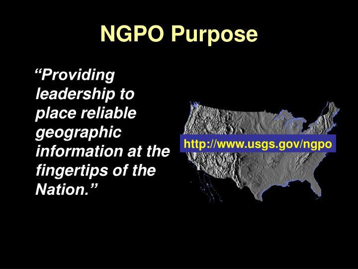 NGPO Purpose