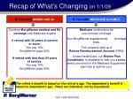 recap of what s changing on 1 1 09