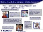 retiree health coordinator needs assessment