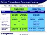 retiree pre medicare coverage muncie