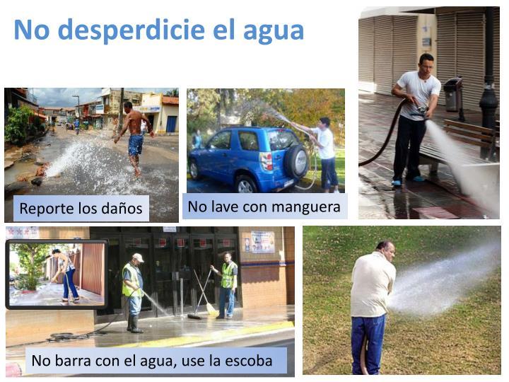 No desperdicie el agua