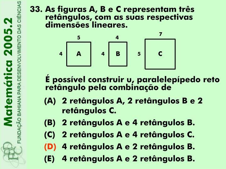 As figuras A, B e C representam três retângulos, com as suas respectivas dimensões lineares.