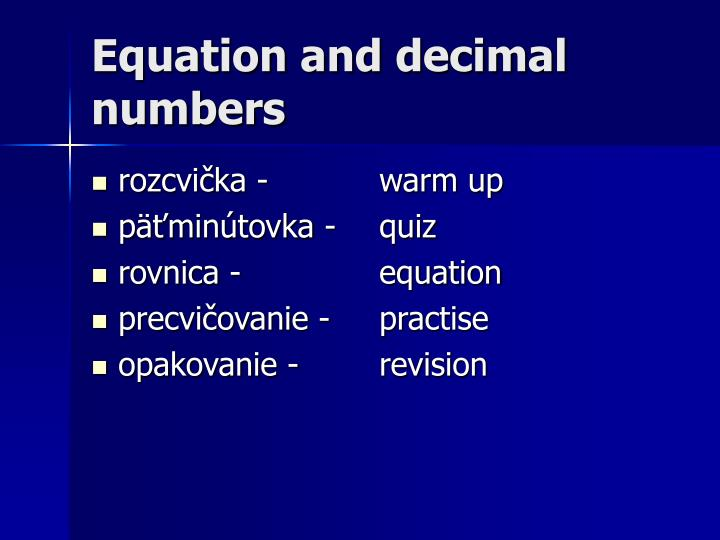 Equation and decimal numbers