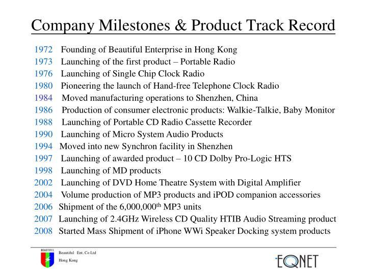 Company milestones product track record