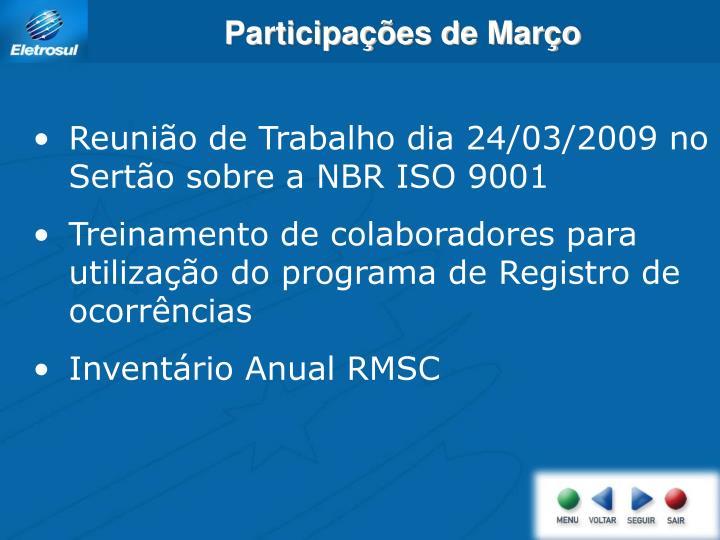Participações de Março
