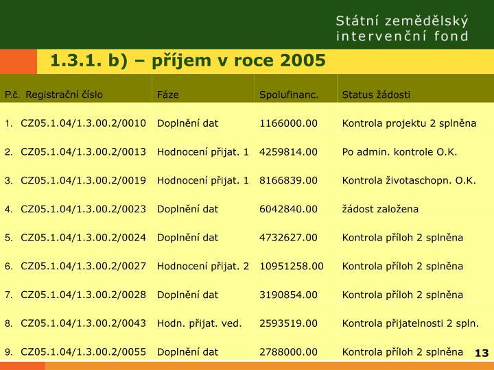 1.3.1. b) – příjem v roce 2005