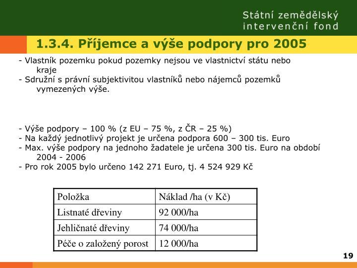 1.3.4. Příjemce a výše podpory pro 2005