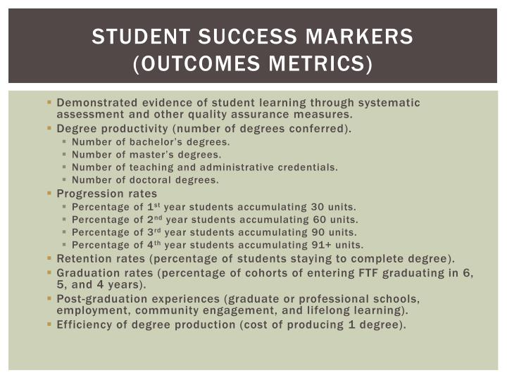Student success markers (Outcomes Metrics)