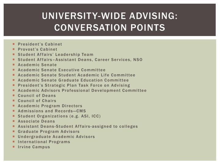 University-Wide Advising: Conversation Points