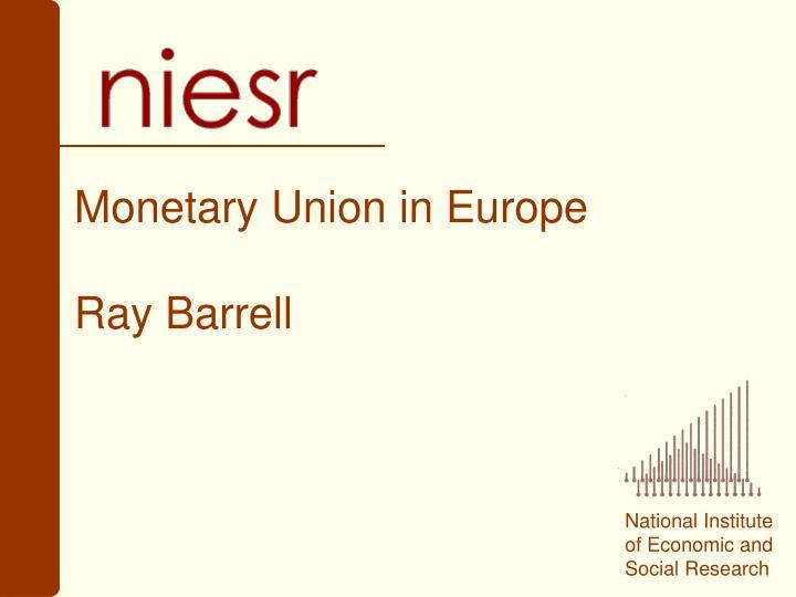 Monetary union in europe ray barrell