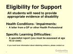 eligibility for support