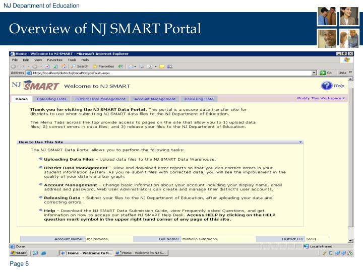 Overview of NJ SMART Portal