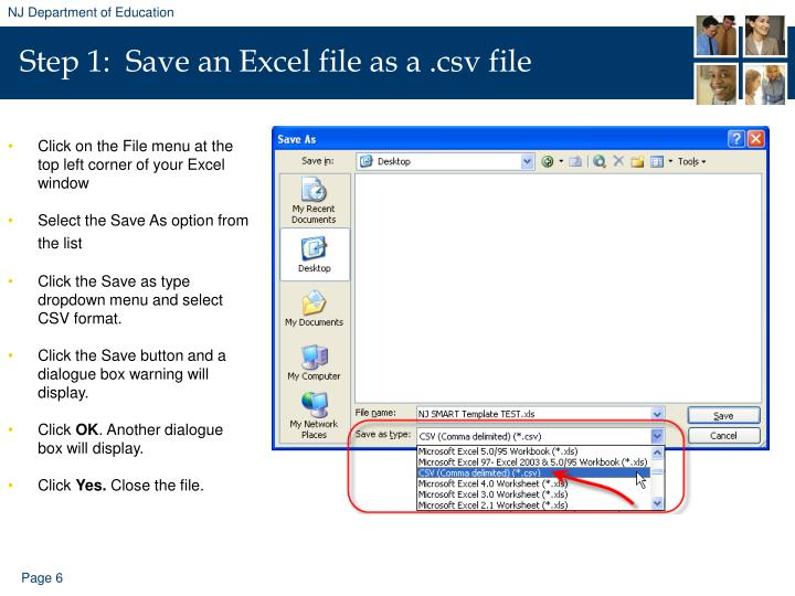 Step 1:  Save an Excel file as a .csv file