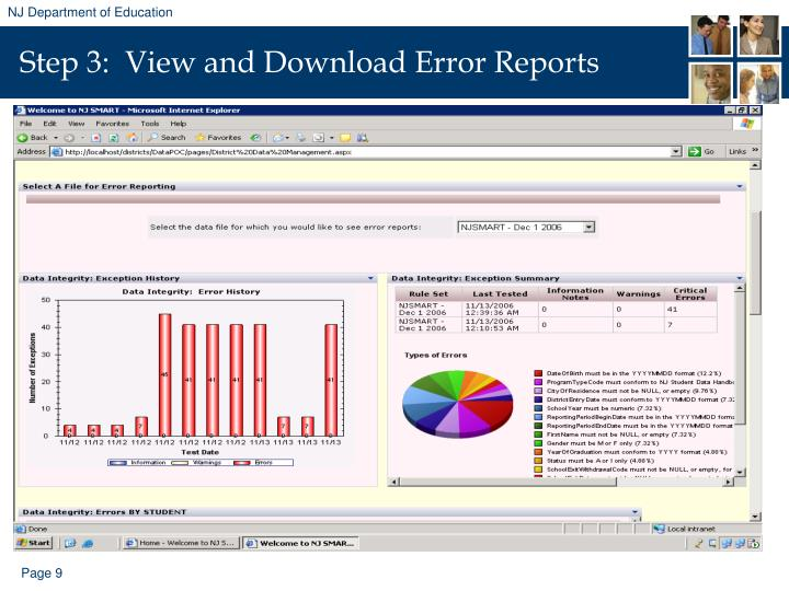Step 3:  View and Download Error Reports