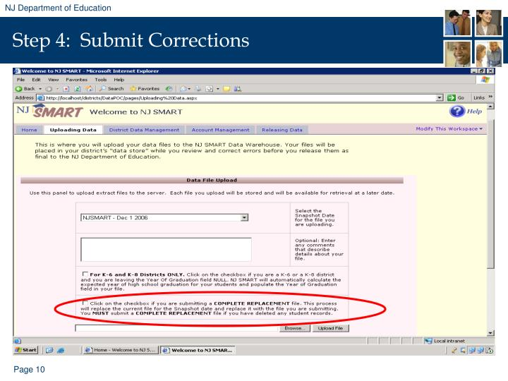 Step 4:  Submit Corrections