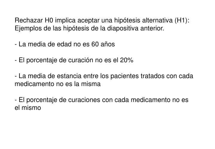 Rechazar H0 implica aceptar una hipótesis alternativa (H1):