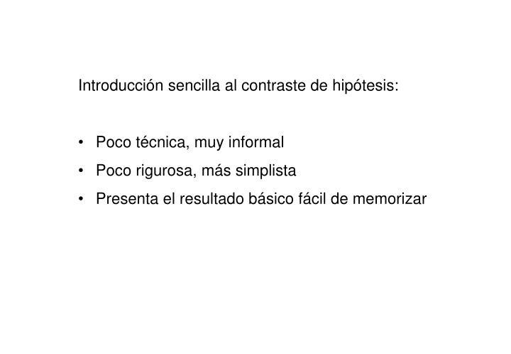 Introducción sencilla al contraste de hipótesis: