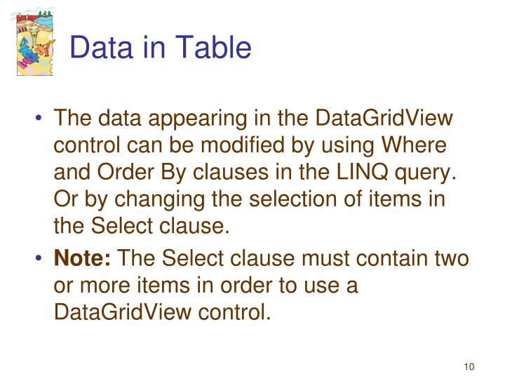 Data in Table