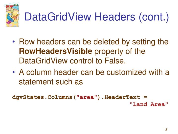 DataGridView Headers (cont.)