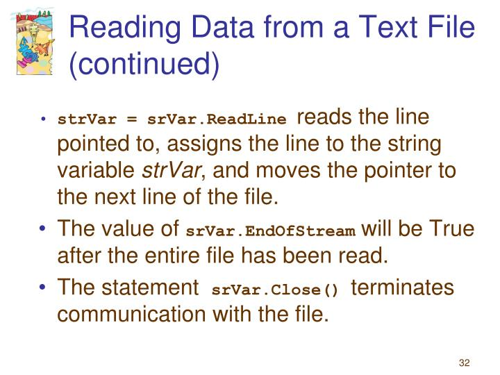 Reading Data from a Text File  (continued)