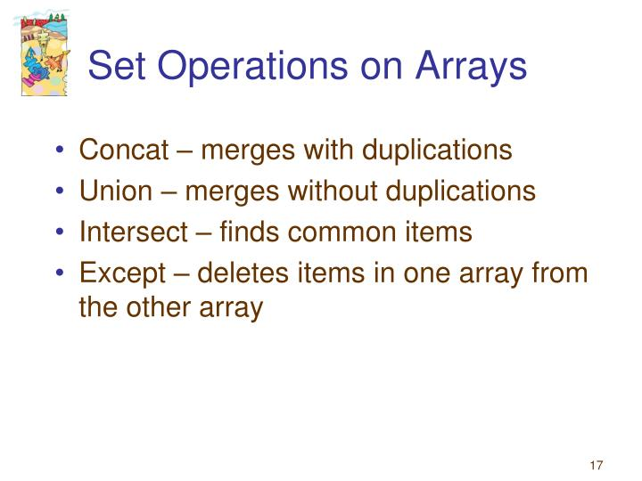 Set Operations on Arrays