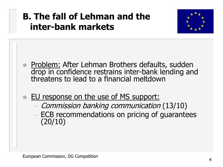 B. The fall of Lehman and the inter-bank markets