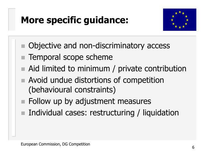 More specific guidance: