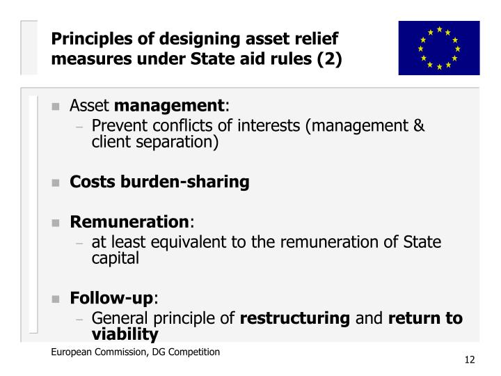 Principles of designing asset relief measures under State aid rules (2)