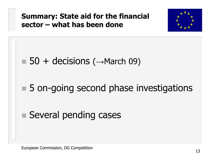 Summary: State aid for the financial sector – what has been done