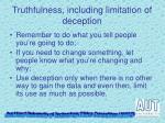 truthfulness including limitation of deception1