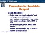 parameters for candidate support2