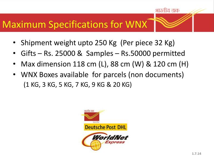 Maximum Specifications for WNX