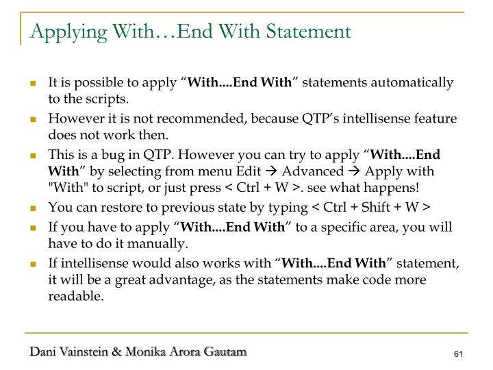 Applying With…End With Statement