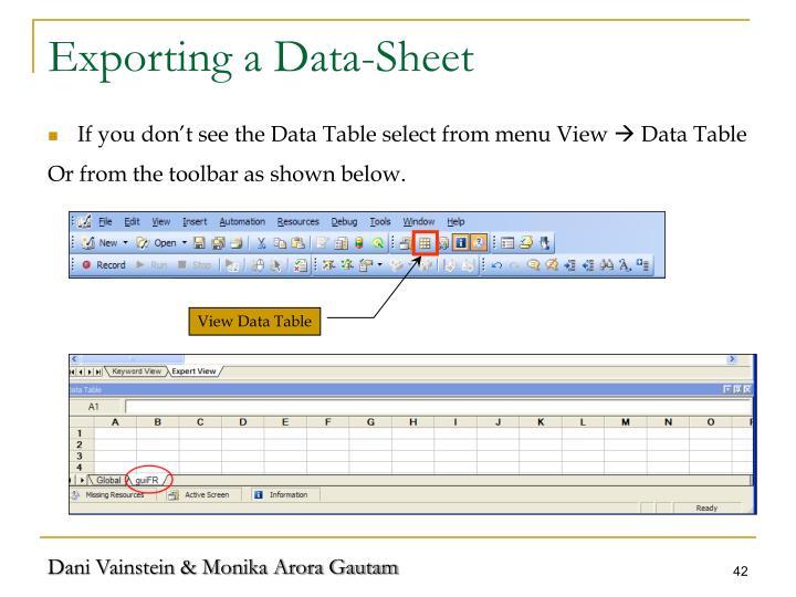 Exporting a Data-Sheet