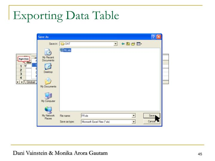 Exporting Data Table