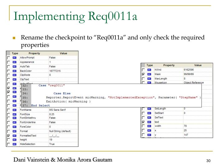 Implementing Req0011a