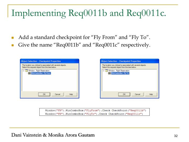 Implementing Req0011b and Req0011c.