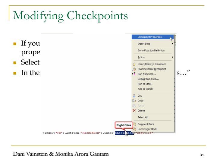 Modifying Checkpoints