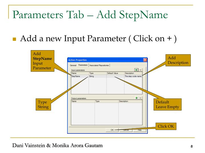 Parameters Tab – Add StepName