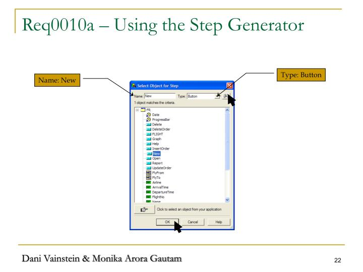 Req0010a – Using the Step Generator