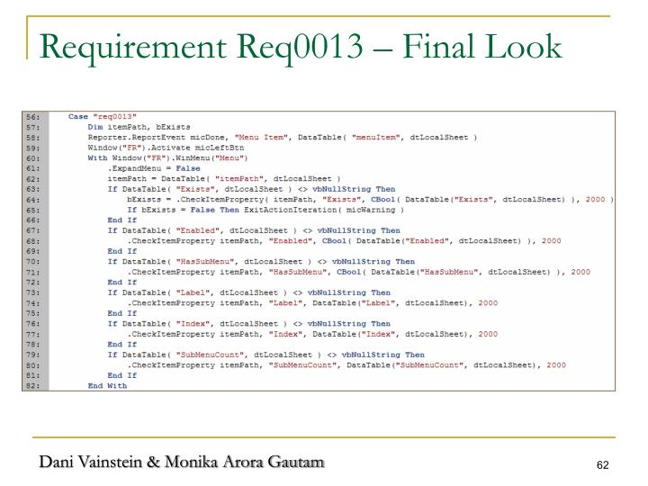 Requirement Req0013 – Final Look
