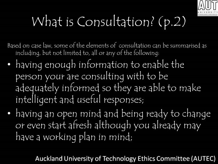 What is consultation p 2