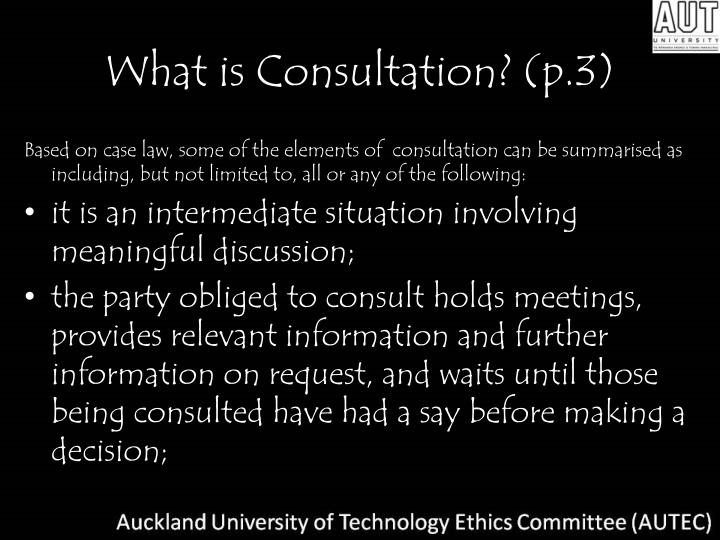 What is Consultation? (p.3)